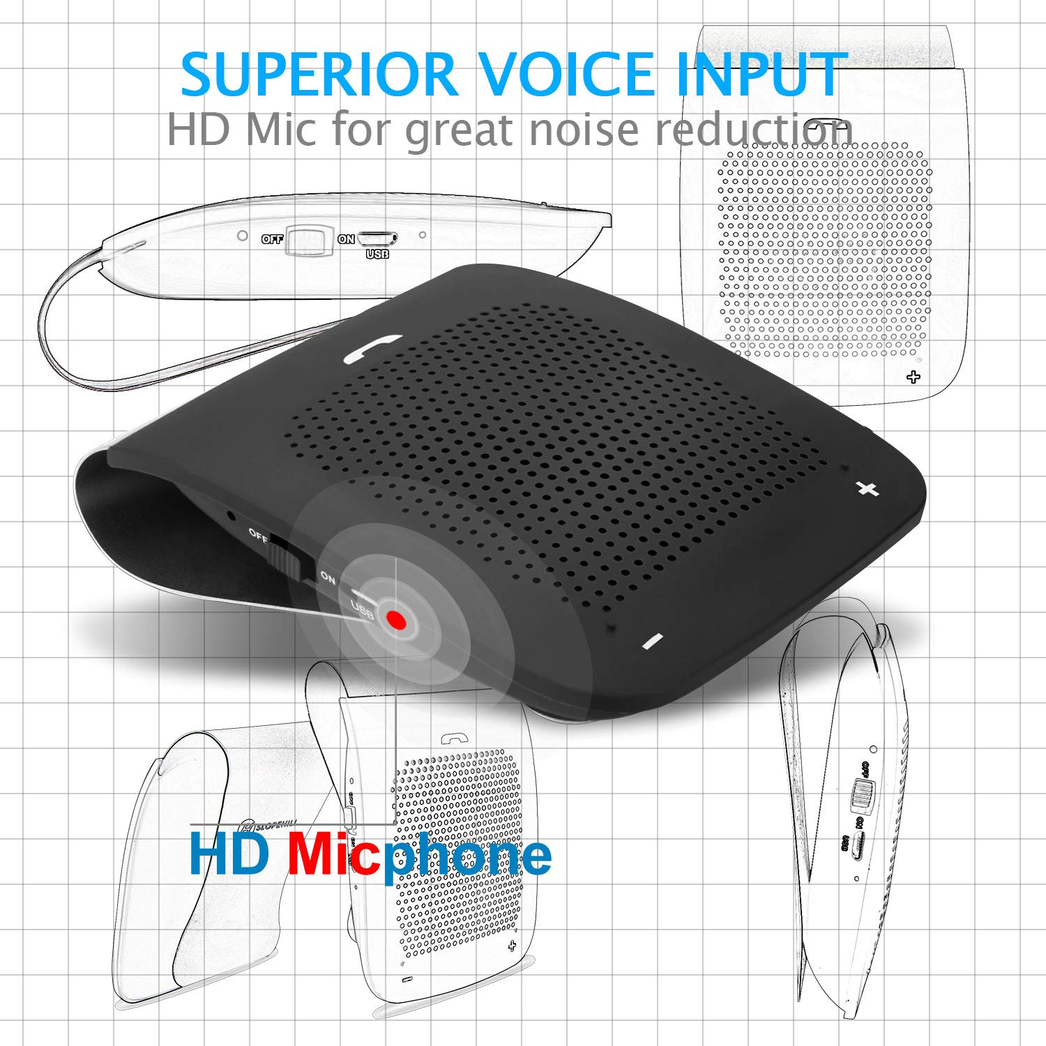 Wireless car Bluetooth Speaker, Slopehill in-car Bluetooth Speakerphone, Hands-Free Visor Speaker Automatic Cellphone Connection for Safe Drive Talking (Clip Design,2019 New Version) by slopehill (Image #4)