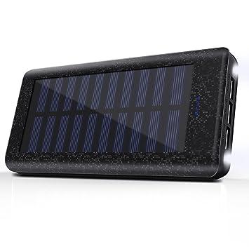 Cargador Solar 24000 mAh Batería Externa, 3 Puertos USB, 2 LED ligeros, Power bank del Movil Portátil Cargador Rapida para iPhone, iPad, Samsung, ...