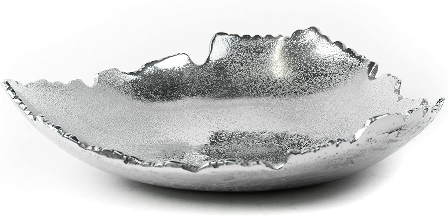 Red Co. Silver Allure Decorative Torn Hammered Centerpiece Bowl
