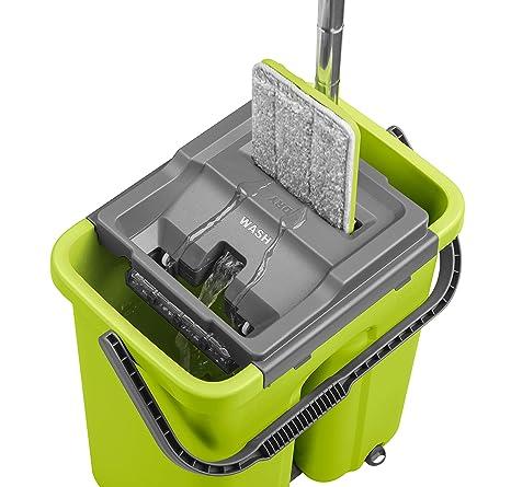 CleanUP Sistema de limpieza con fregona y cubo, fregona revolucionaria que ahorra trabajo, para todo tipo ...