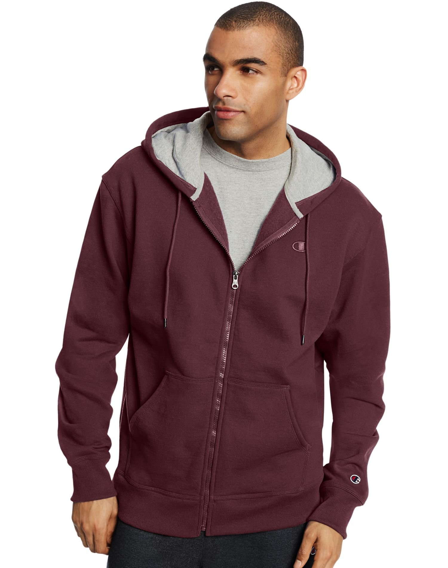 Champion Mens Powerblend Fleece Full Zip Jacket, 3XL, Maroon by Champion