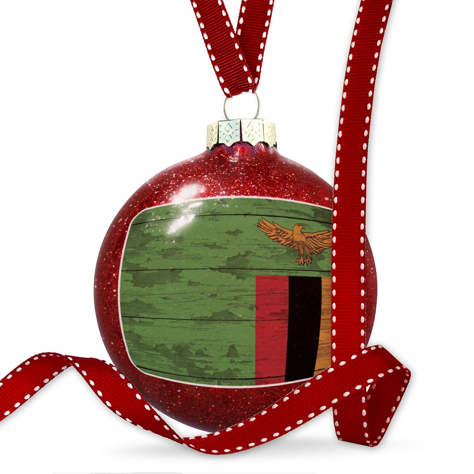 Christmas Decoration Flag on Wood Zambia Ornament
