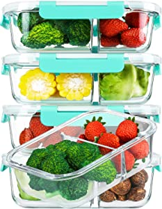 [5-Pack,36 Oz]Glass Meal Prep Containers 2 Compartments Portion Control with Upgraded Snap Locking Lids Glass Food Storage Containers, Microwave, Oven, Freezer and Dishwasher (4.5 Cups, Green)