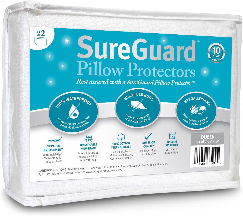 Set of 2 Queen Size SureGuard Pillow Protectors - 100% Waterproof, Bed Bug Proof, Hypoallergenic - Premium Zippered Cotton Terry Covers - 10 Year Warranty: Home & Kitchen