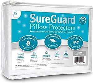 Set of 2 Queen Size SureGuard Pillow Protectors - 100% Waterproof, Bed Bug Proof, Hypoallergenic - Premium Zippered Cotton Terry Covers