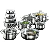 Karcher 121008 Jasmin cookware set (20-piece incl. glass lids and bowls, suitable for induction hobs), stainless steel
