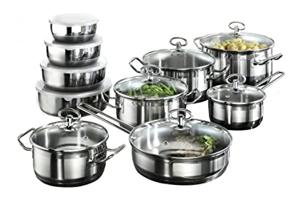 Karcher 121008 Jasmin cookware set (20-piece incl. glass lids and bowls,