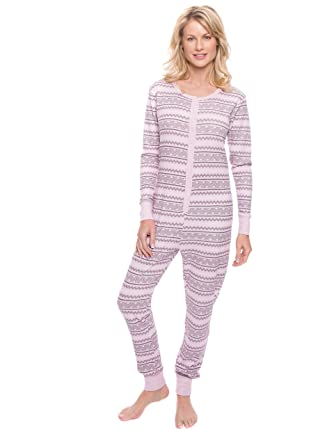 Noble Mount Women s Waffle Knit Thermal Onesie - Geo Nordic Lilac - Small c2e3cf0b6