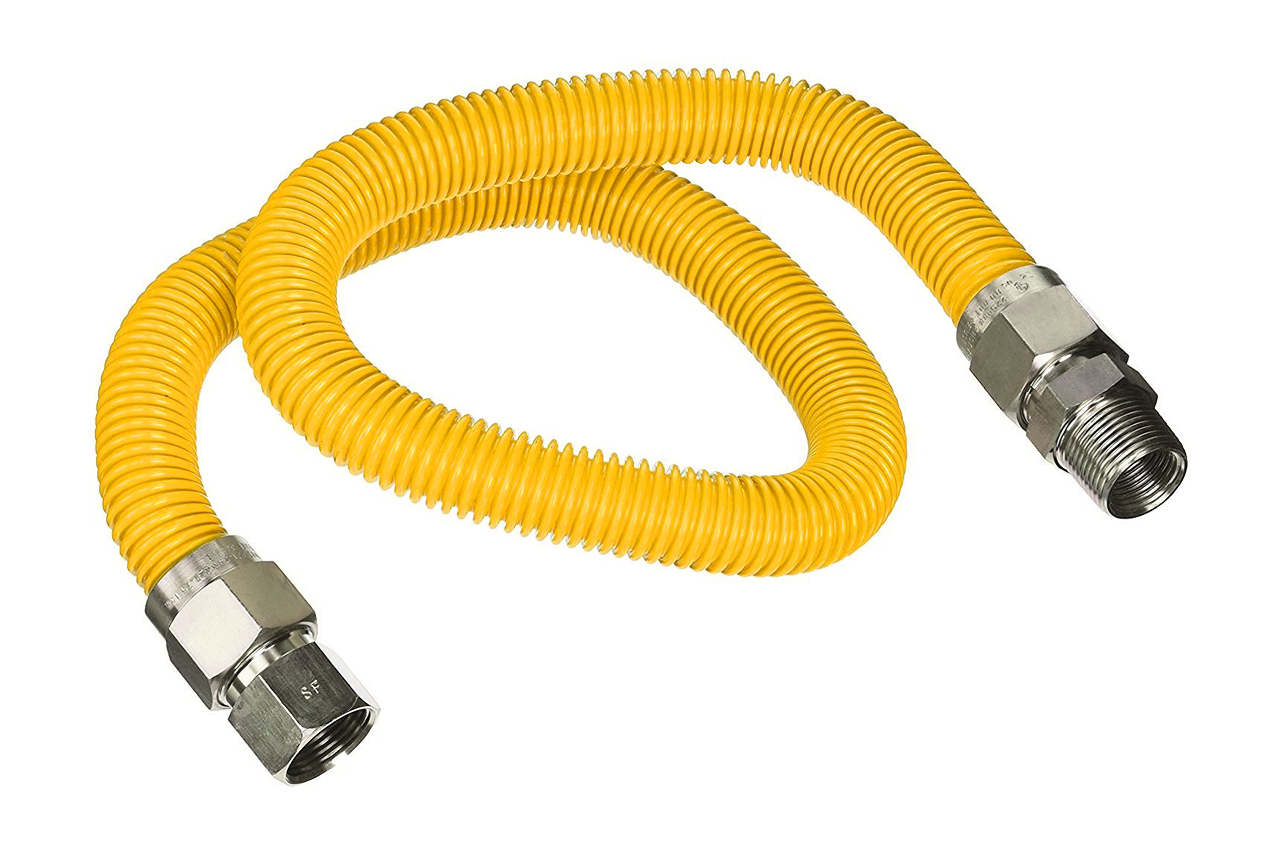 Flextron FTGC-YC12-60C 60 Inch Flexible Epoxy Coated Gas Line Connector with 5/8 Inch Outer Diameter & 1/2 Inch FIP x 1/2 Inch MIP Fittings, Yellow/Stainless Steel, Excellent Corrosion Resistance