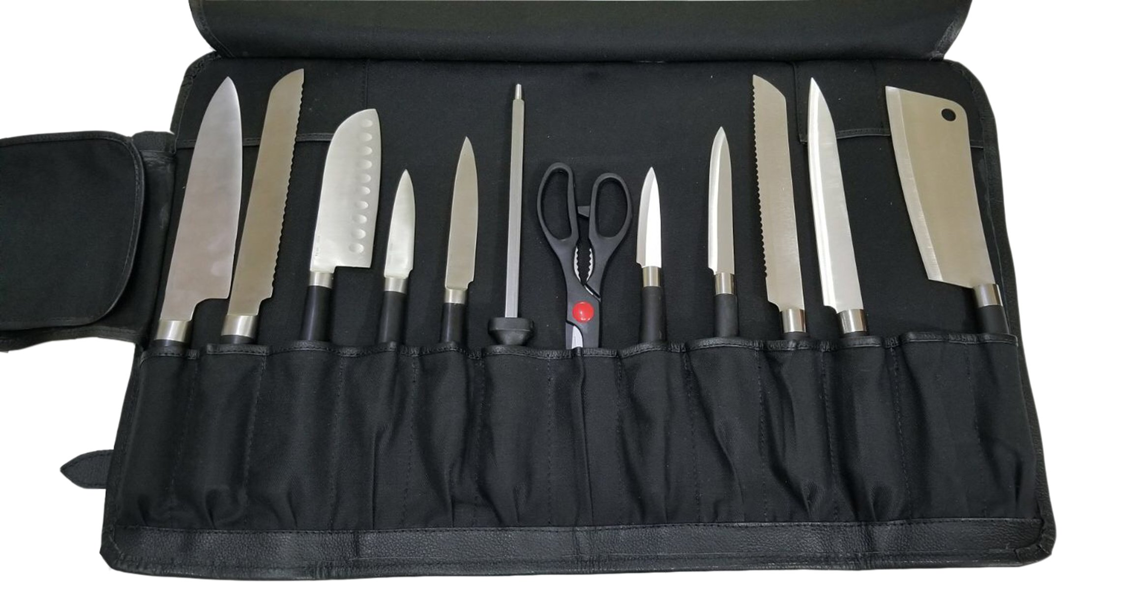 Lightweight Genuine Premium Black Leather Professional Chef Knife Bag/Chef Knife Roll 13 Slots Space #K9