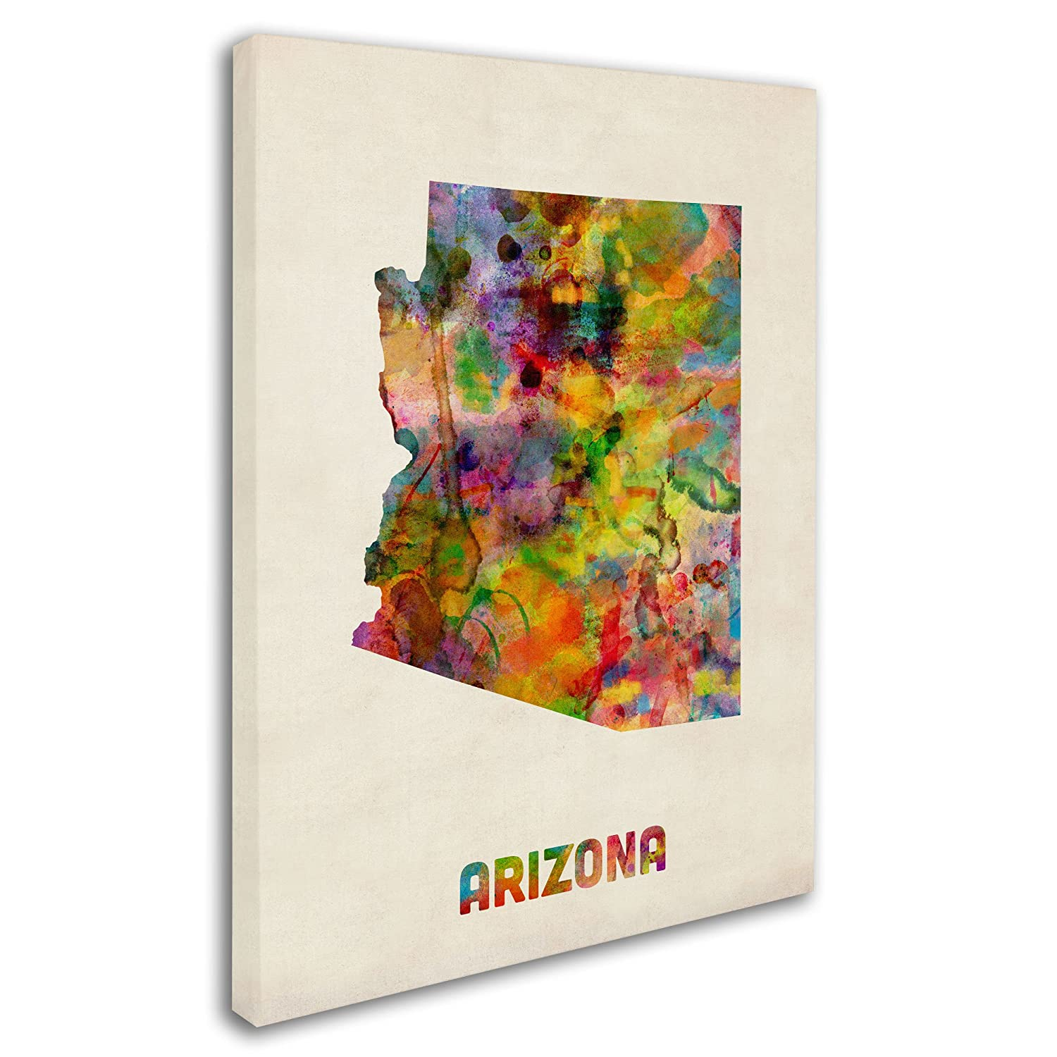 Arizona Map by Michael Tompsett, 24 by 32-Inch Canvas Wall Art