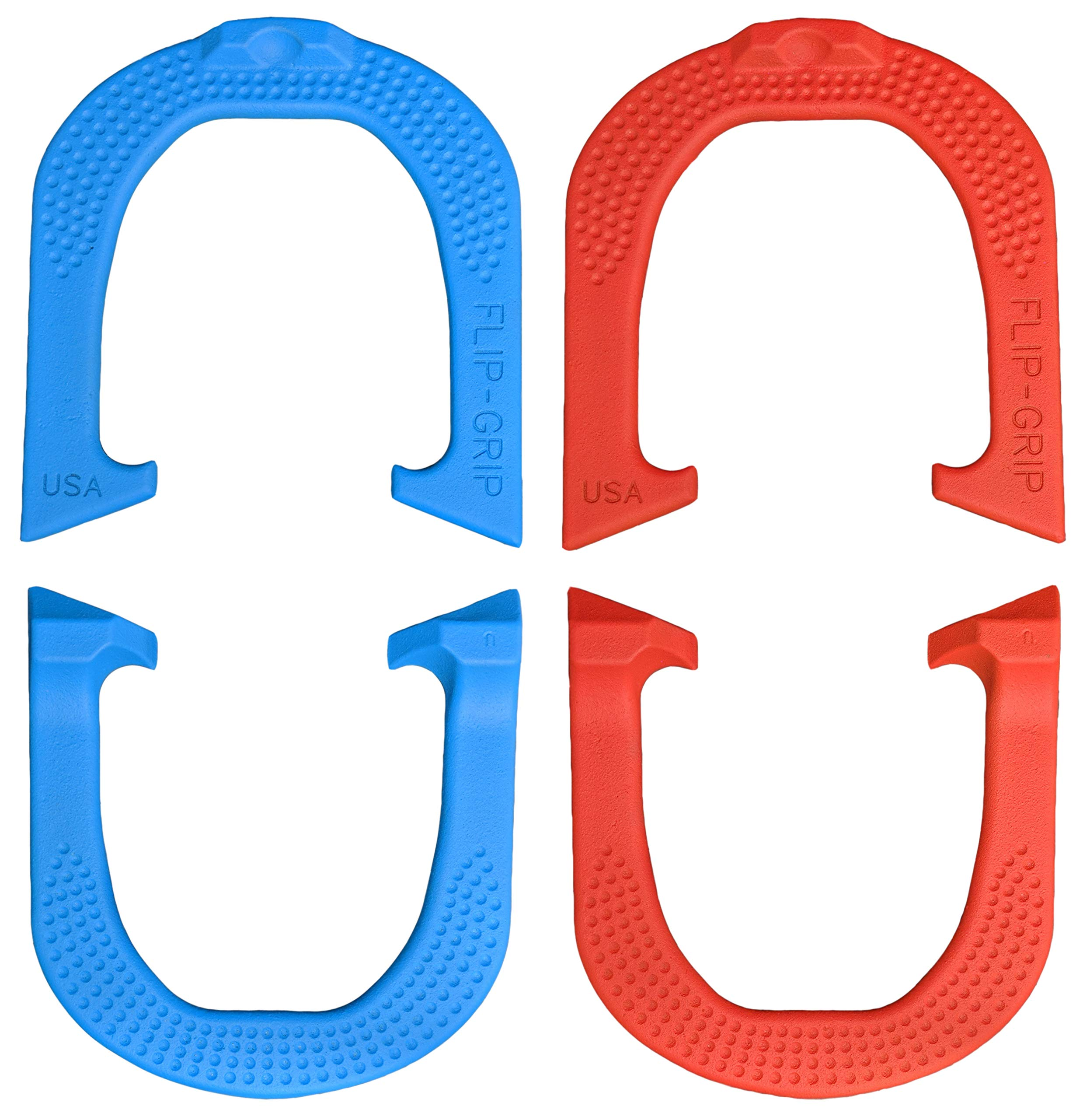 Flip-Grip Professional Pitching Horseshoes- Made in The USA! (Red & Blue- Two Pair Set (4 Shoes)) by Thoroughbred Horseshoes (Image #1)
