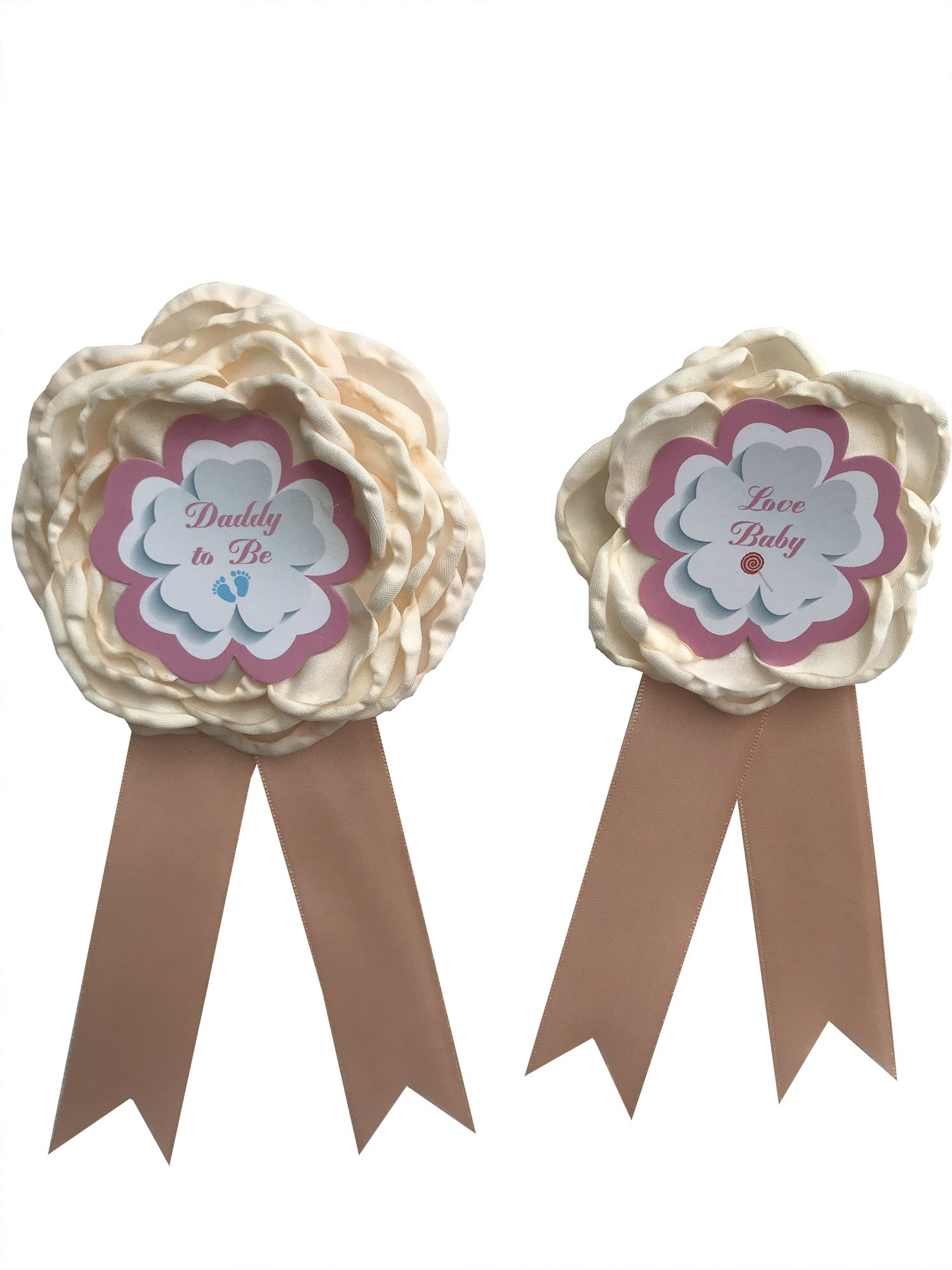 Kids Mommy To Be Cosrage Daddy To be Corsage Baby Shower Decoration Y08 (Blush)