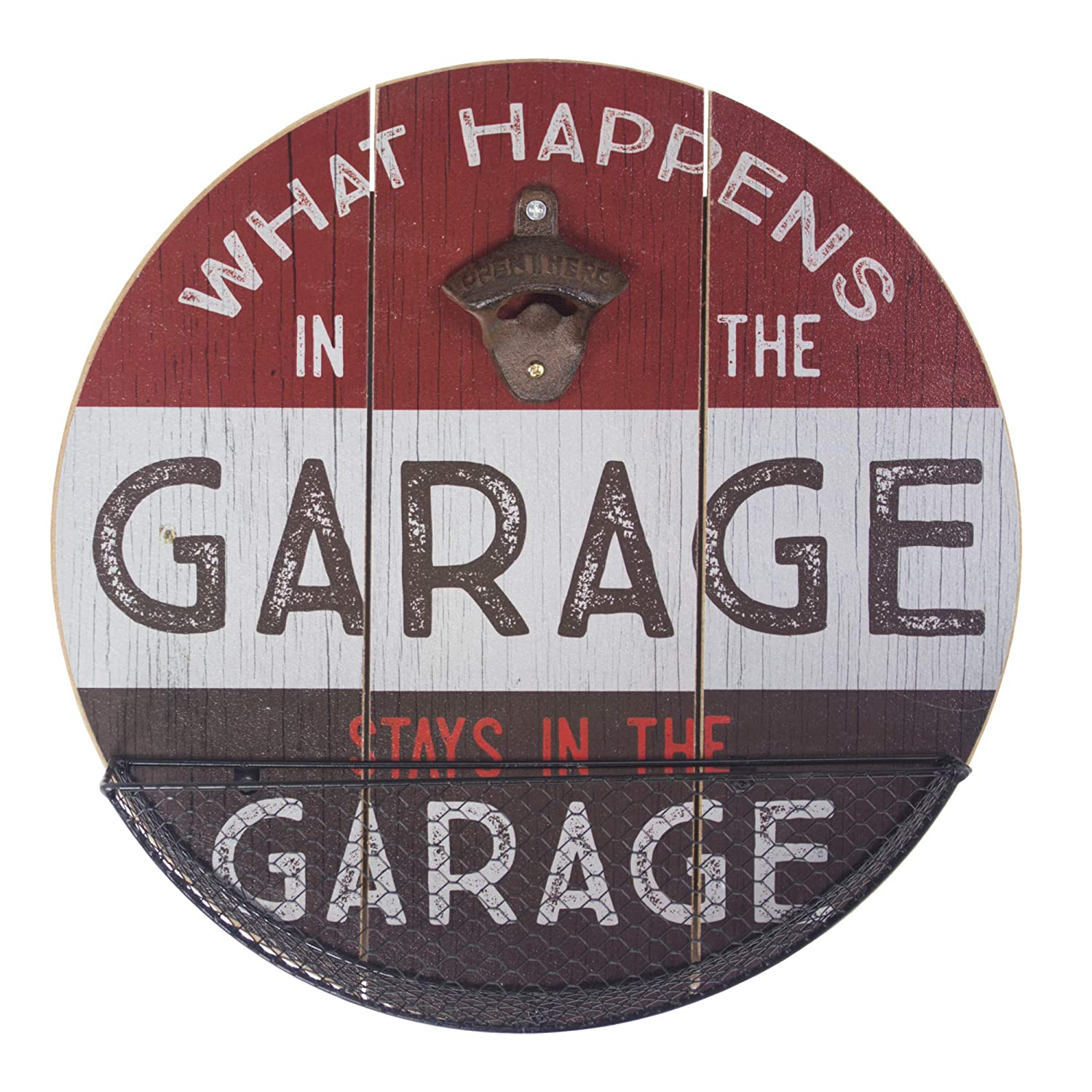 What Happens in the Garage Bottle Opener and Cap Catcher Wall Decor for Bar Garage or Man Cave