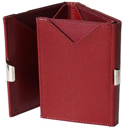 EXENTRI Cartera billetera para mujer u hombre de cuero forrada en nylon rojo. Espacio para