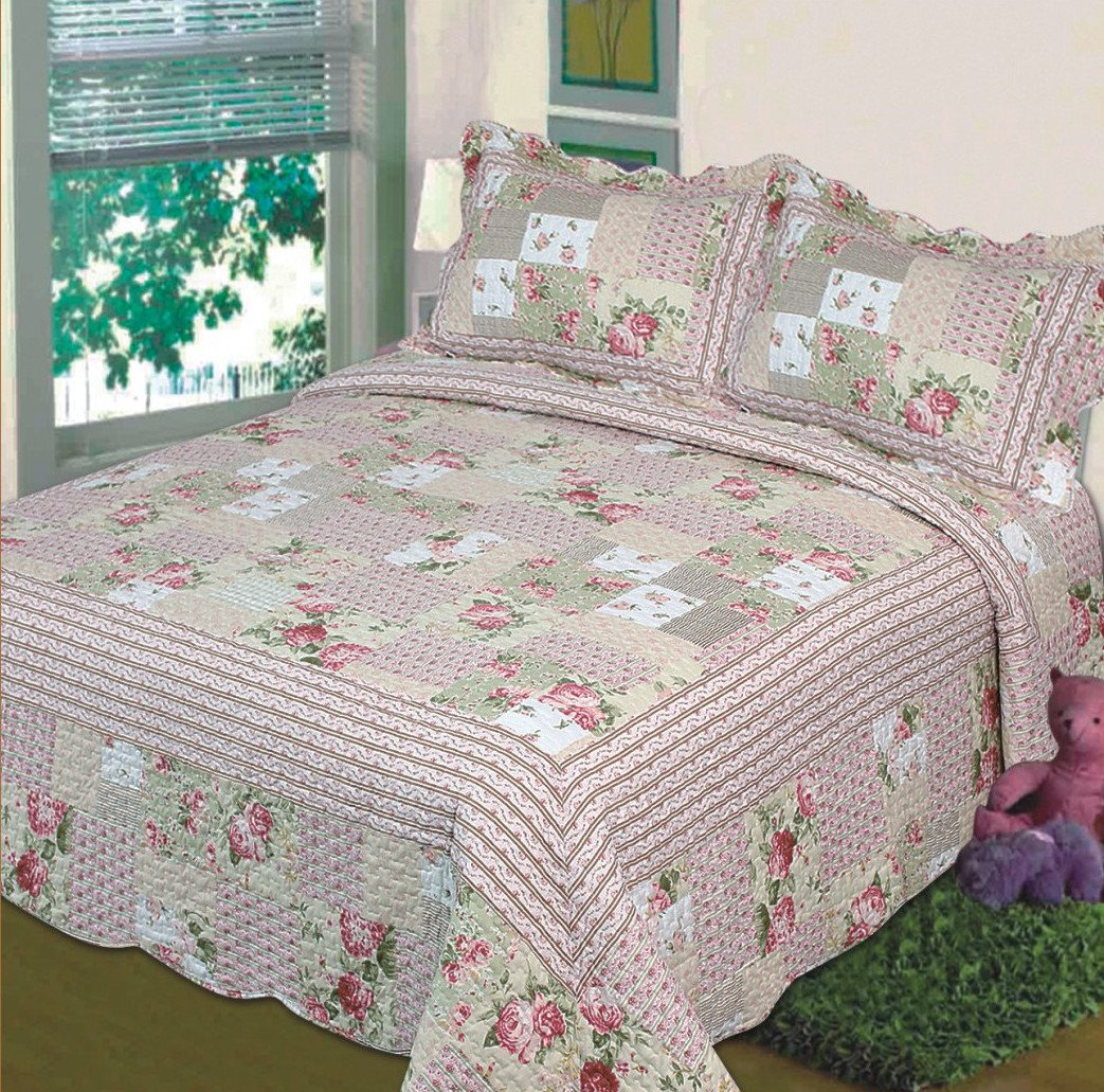 3pc Bedspread Bed Cover Pink Beige Green Flowers King/California King