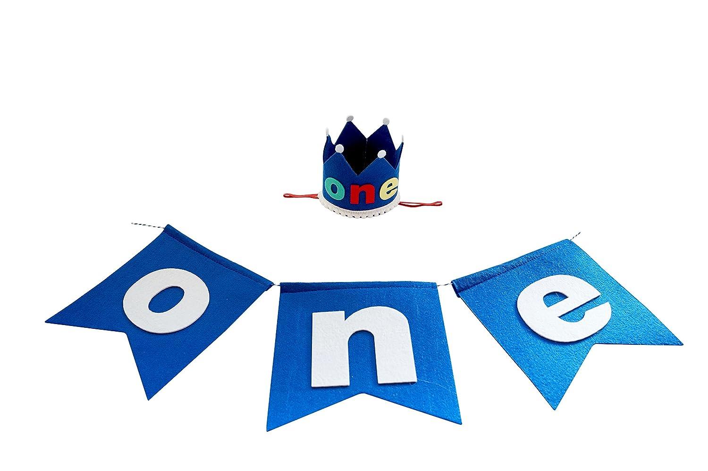 PoshPeanut One Baby Boys Felt Birthday Party Crown Hat Baby Kid to Toddler Size with FREE Pennant Happy Birthday Boy High Chair Banner Garland Sign   B01K8R4BKO