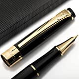 Fountain Pen Set Fine Nib with Ink Refill Converter and Elegant Case - Showtime Black Limited Edition - You Get Best Signature Calligraphy Fountain Pens for Writing Ink Cartridges Not Included on Sale