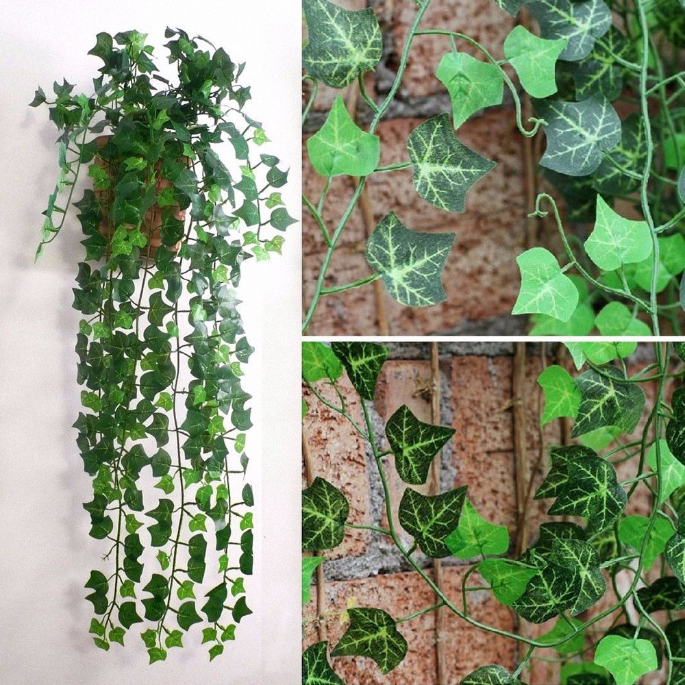 AOHANG Artificial Fake Hanging Vine Plant Leaves Garland Home Garden Wall Decoration Pack of 1,Green