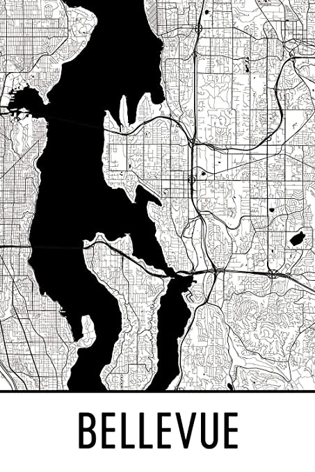 Amazon Com Modern Map Art Bellevue Print Bellevue Art Bellevue