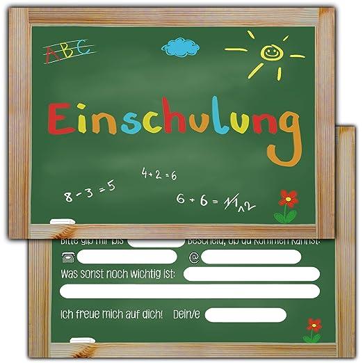 12 Einladungskarten Zur Einschulung // Schulanfang Einladungen Mädchen  Jungen Schule Tafel Schuleinführung Schuleingang: Amazon.de: Spielzeug