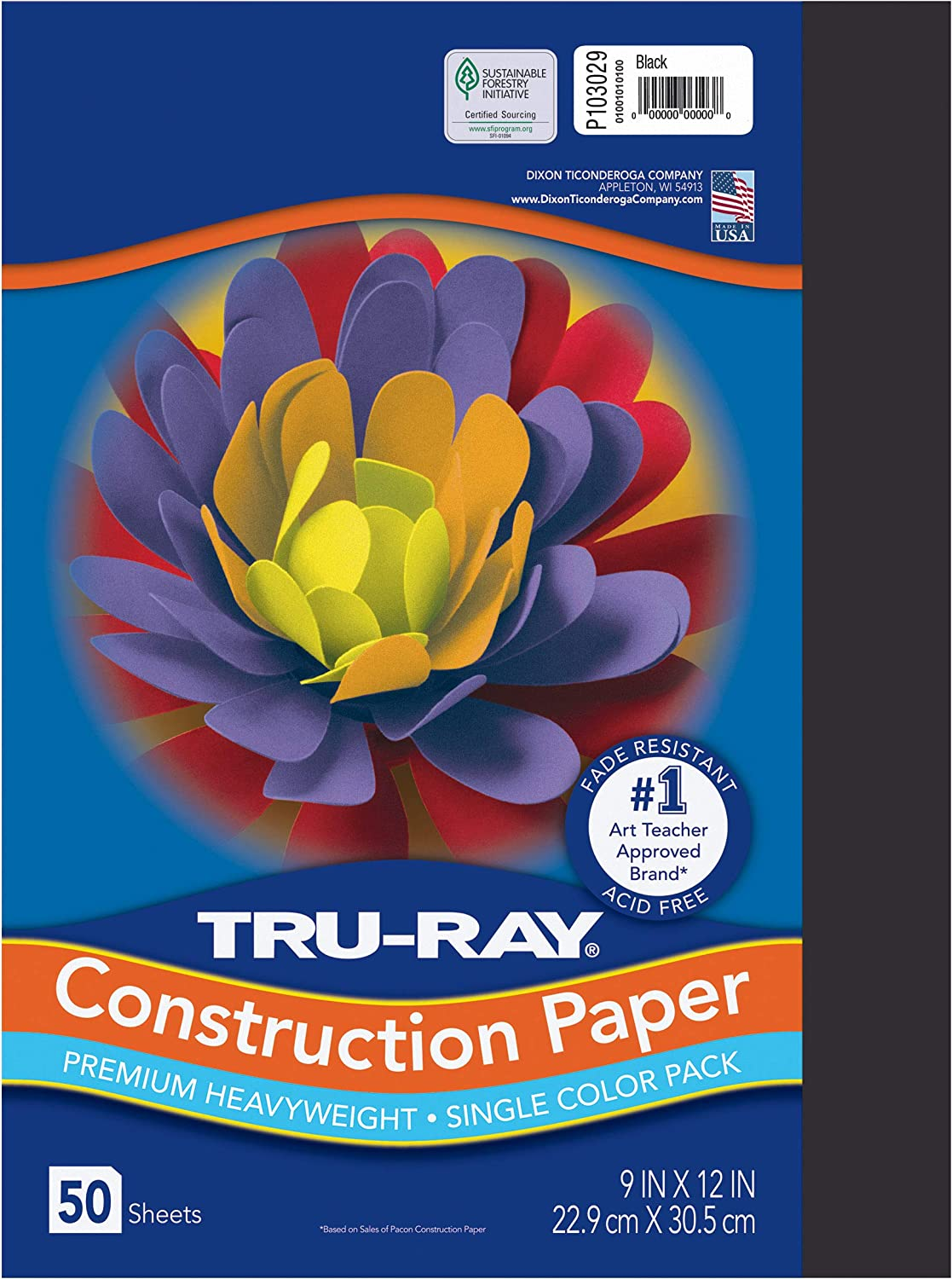 """Tru-Ray Heavyweight Construction Paper, Black, 9"""" x 12"""", 50 Sheets, Sulphite Construction Paper : Office Products"""