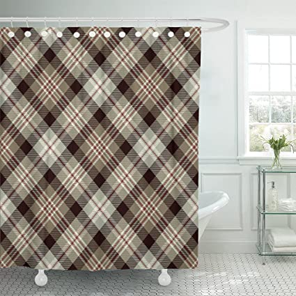 Image Unavailable Not Available For Color Emvency Shower Curtain Tartan Red Brown Black