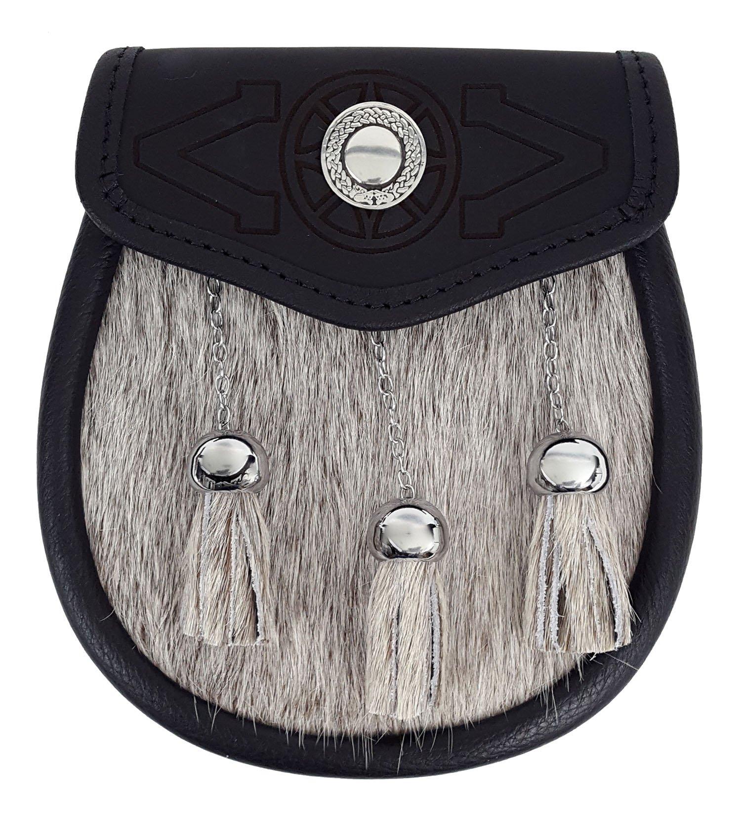 Targe Embossed Premium Fur Sporran (Celtic Embossed Sporran Suspender)