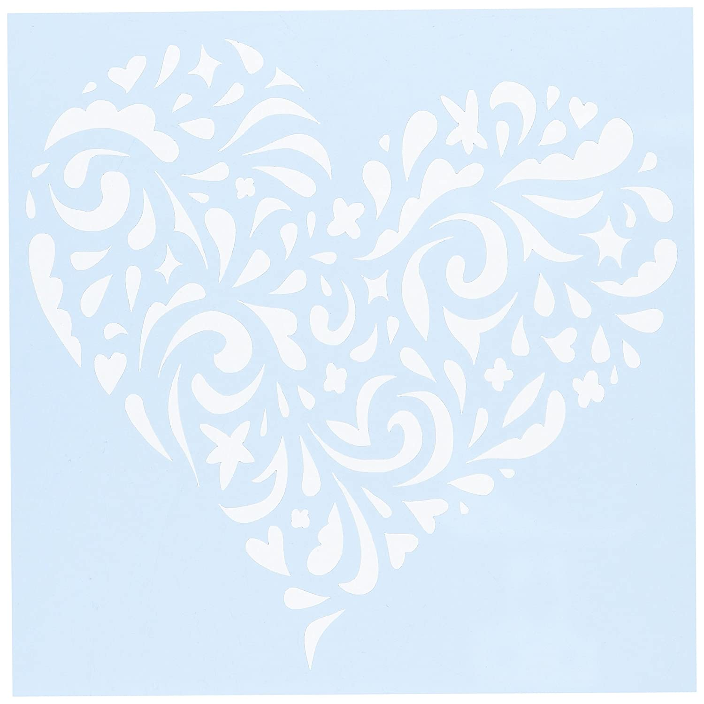 Clear Scraps Stencil, 15 cm x 15 cm, forma a cuore CSSMSWLHEART6