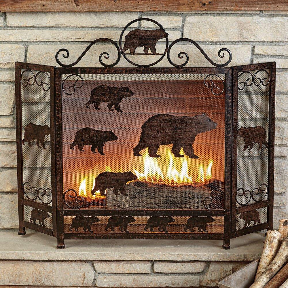 Rust Finish Bear Fireplace Screen