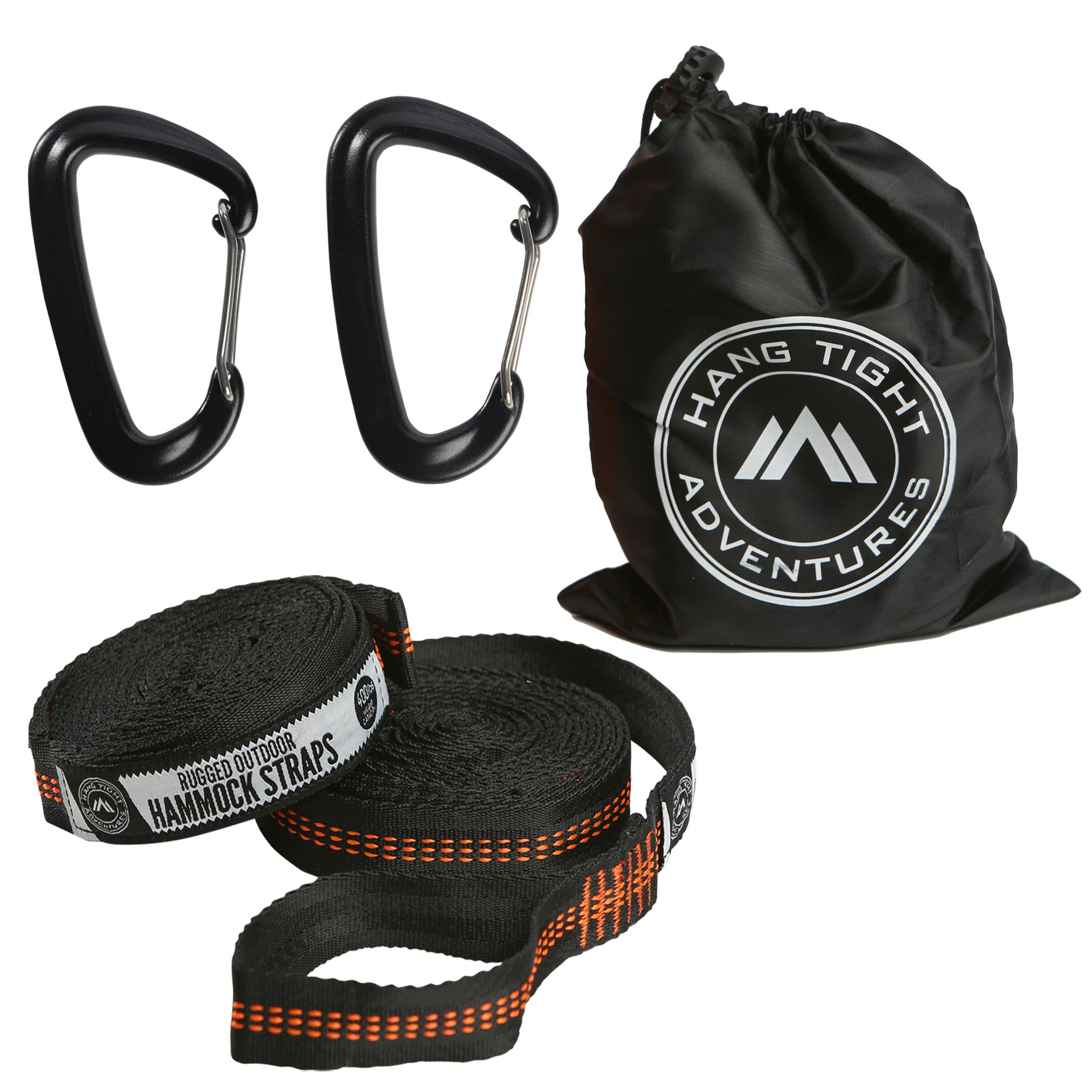 HangTight Adventures Rugged Hammocks Straps, Heavy Duty Tree Straps 800LB+ Weight Limit, 100% Performance graded suspension material, Plus + 2 Light weight Premium Hammock Carabiners