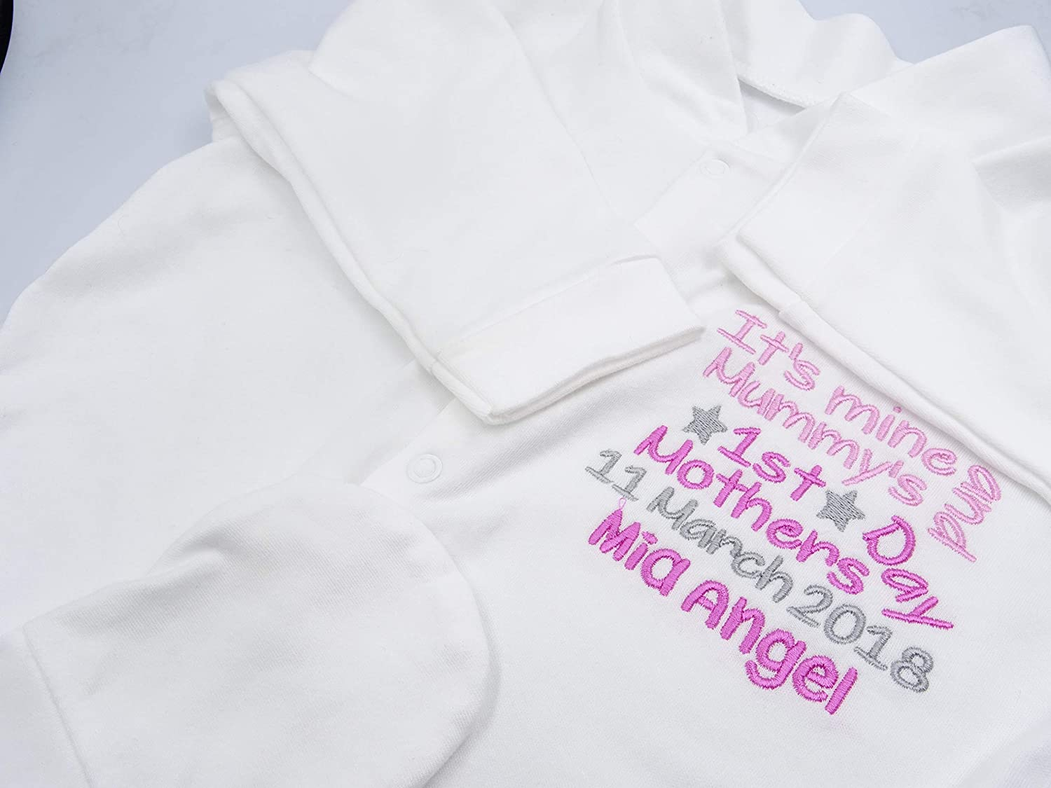 Its Mine and Mummys 0-3 Months Personalised Embroidered Baby Girls Sleepsuit Babygrow Girls Novelty Unique Gift /& Keepsake **Add Any Name** Happy 1ST Mothers Day Mummy