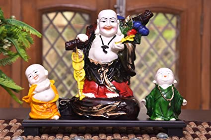 MARINERS CREATION Polyresin Laughing Buddha Statue for Home Decor, 30x10x24 cm (Multicolour)