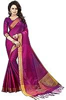 Perfectblue Cotton Silk Saree With Blouse Piece (Purple Pink_Free Size)