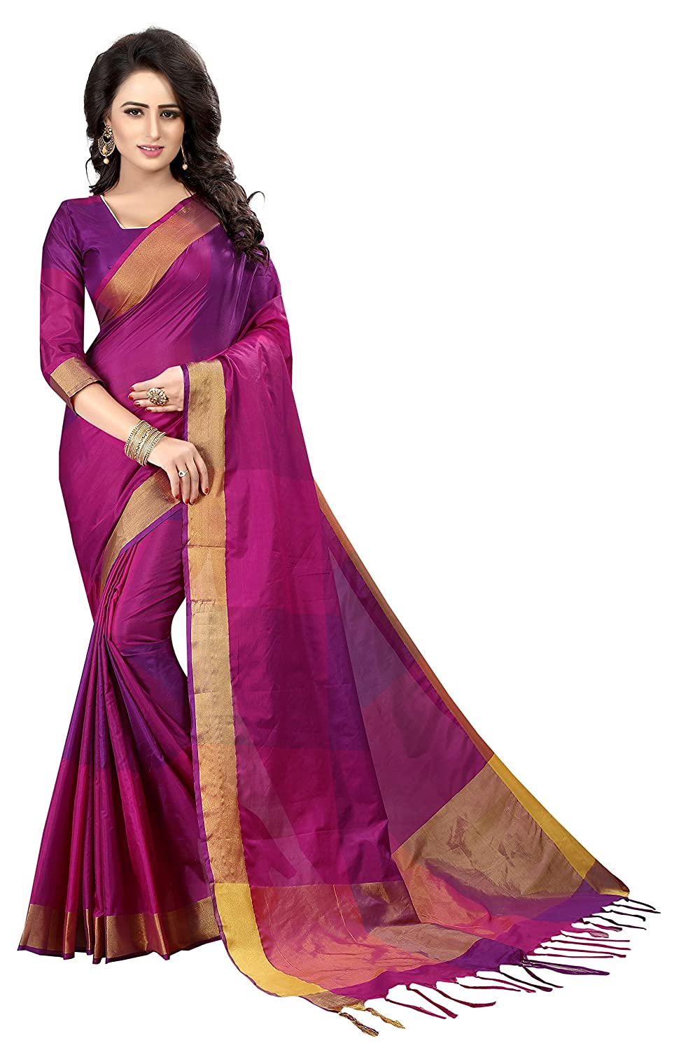 Best Cotton Silk Saree with Blouse Piece For Festive Wear