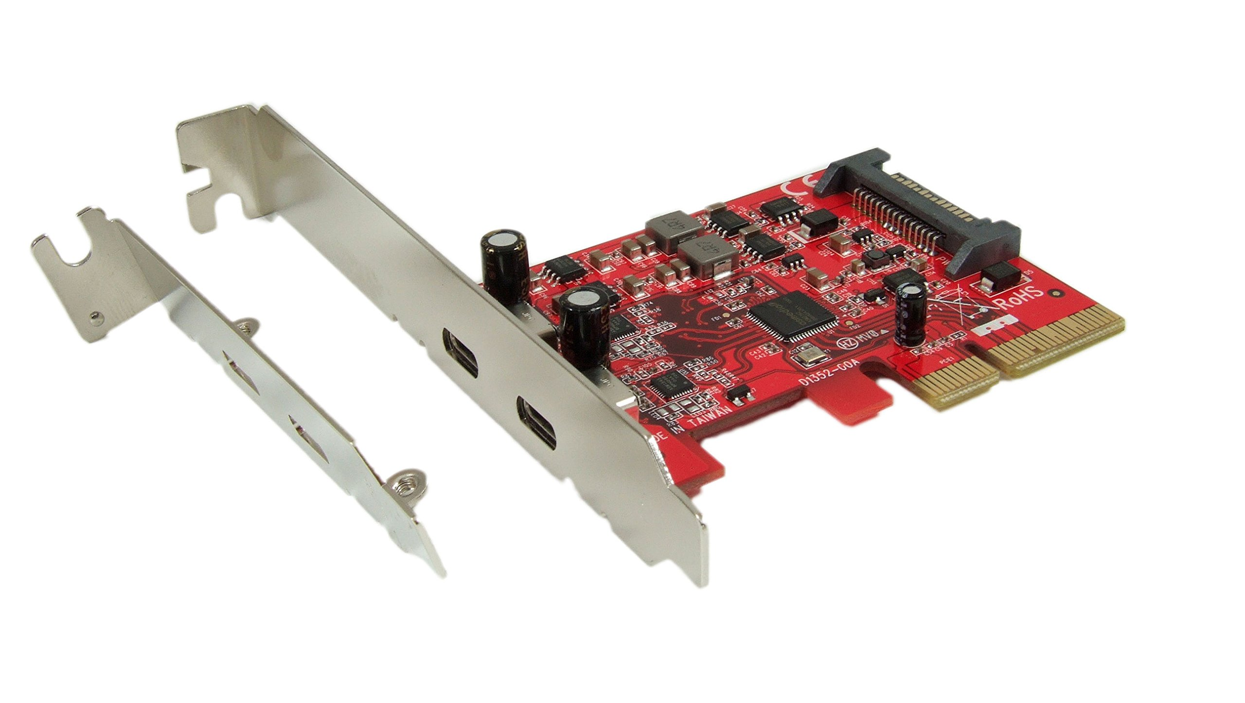 Ableconn PU31-2C-2 USB 3.1 Gen 2 (10 Gbps) 2-Port Type-C PCI Express (PCIe) x4 Host Adapter Card (ASMedia ASM2142 Chipset) - Support MacOS 10.12-10.14 and Windows 10/8