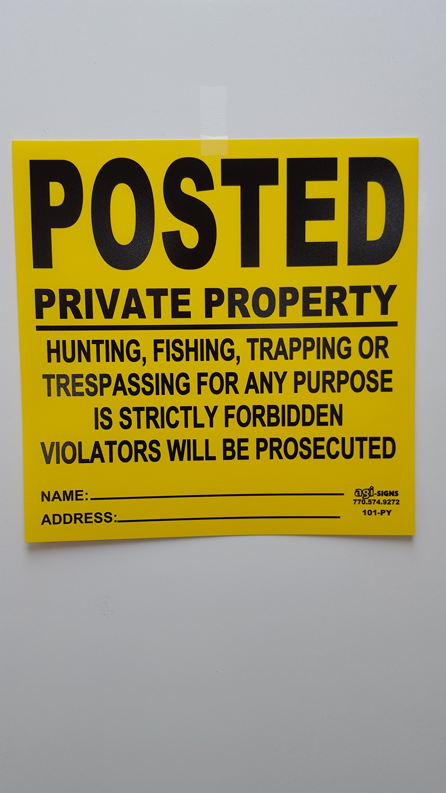 20 Pack - .023'' x 11.25'' x 11.25'' HDPE Posted Private Property, Violators Prosecuted Sign