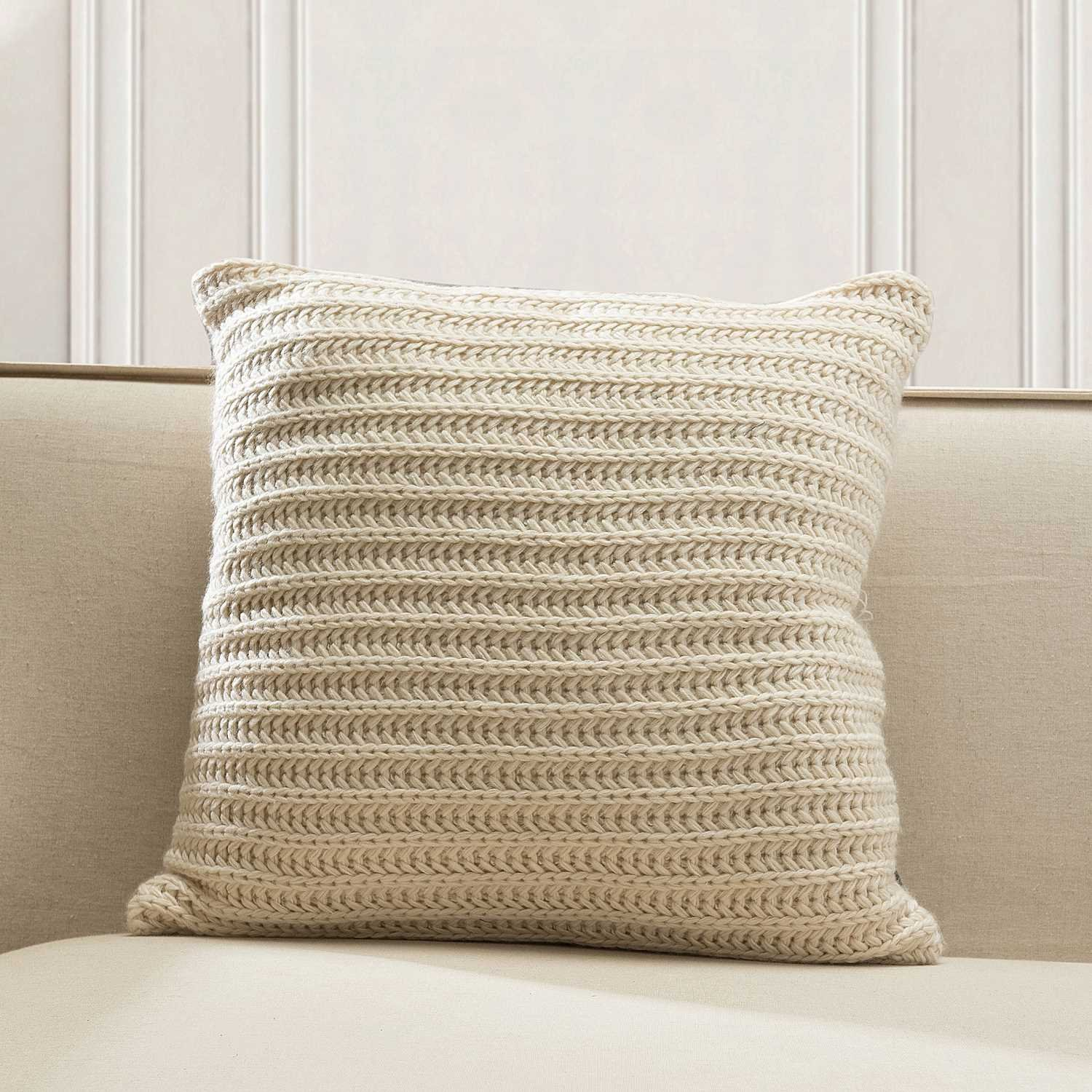 TINA'S HOME Knitted Decorative Throw Pillows with Down Feather Filling | Cozzy Acrylic Solid Color Toss Accent Pillows for Couch Sofa Bed Decor (20x20, Cream)