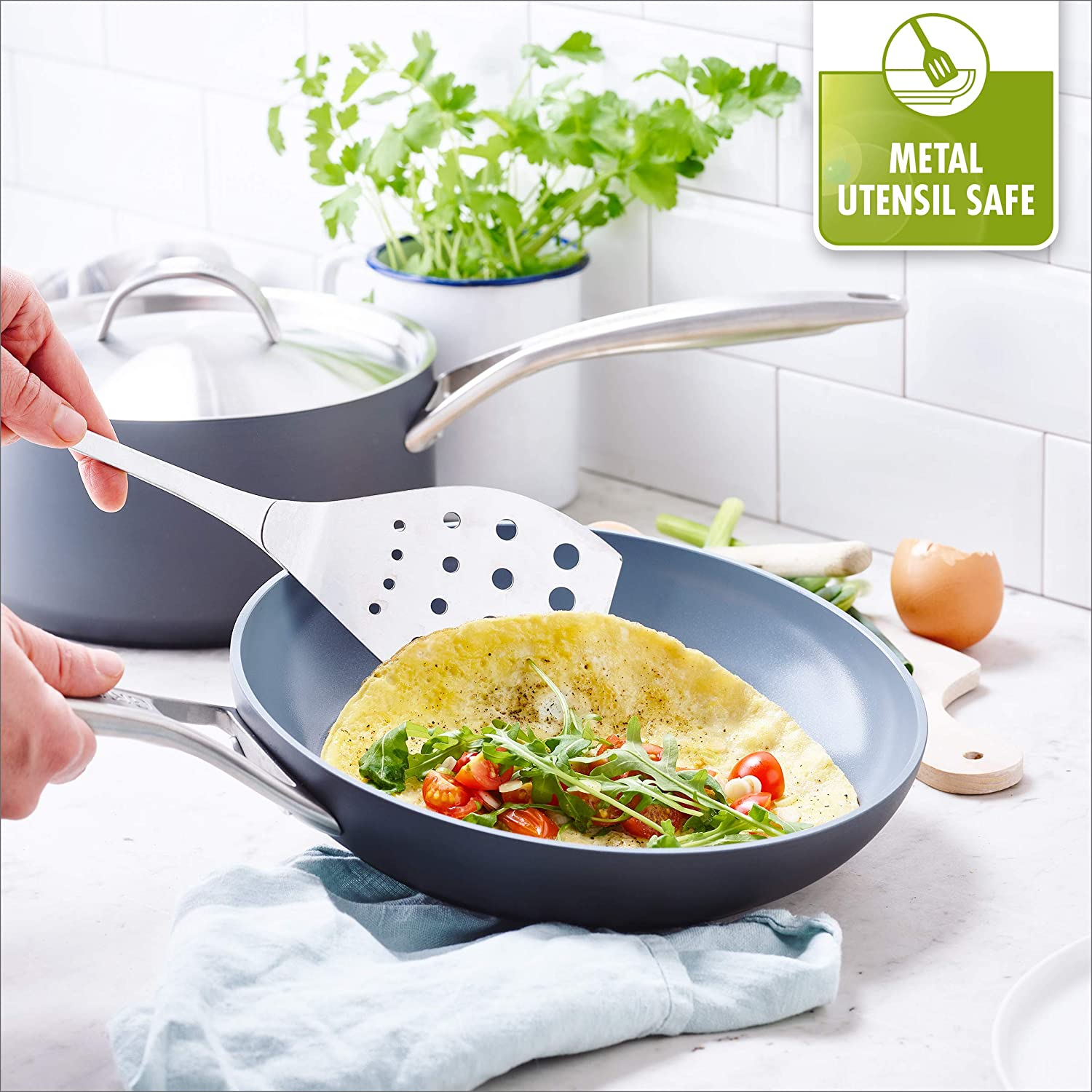 GreenPan Paris 4 Quart Ceramic Non-Stick Covered Saute Pan with Helper Handle