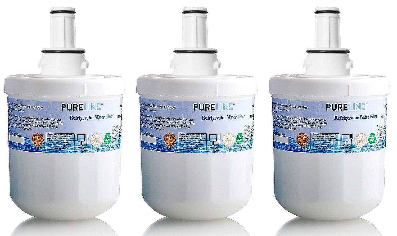 Pure Line Compatible Samsung Aqua-Pure Plus DA29-00003G Refrigerator Water Filter Replacement, Also Compatible Aqua Pure Plus DA29-00003A, DA29-0003B & More (3 Pack)