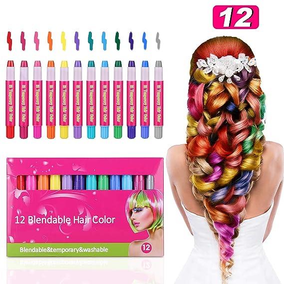 Amazon.com: Tiaoyeer – Tiaoyeer 12 colores de tiza de pelo ...