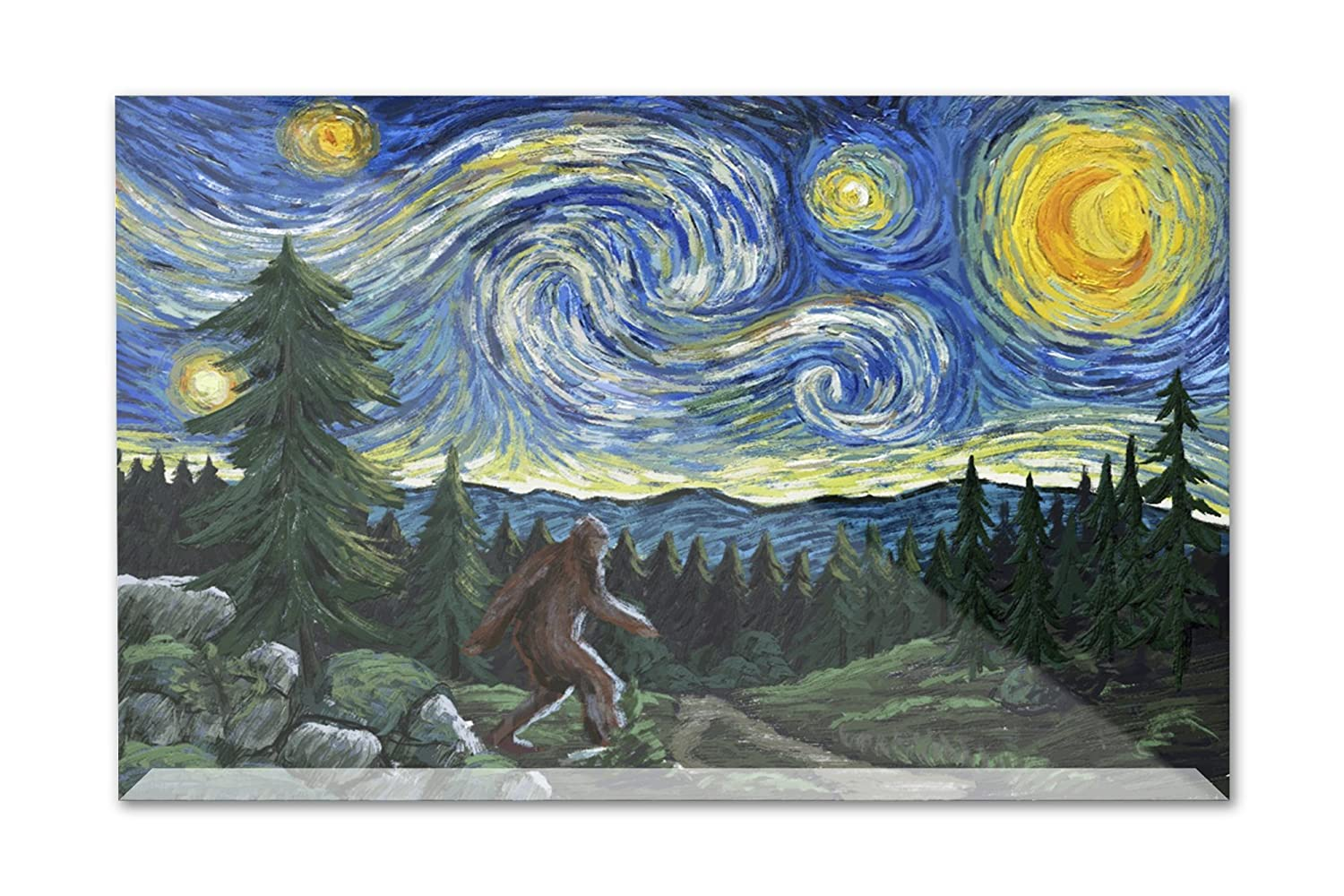 Northwest – Van Gogh Starry Night – Bigfoot 12 x 8 Acrylic Photo Block Decor LANT-3P-AC-PB-81018-8x12 12 x 8 Acrylic Photo Block Decor  B072PZ6TCY