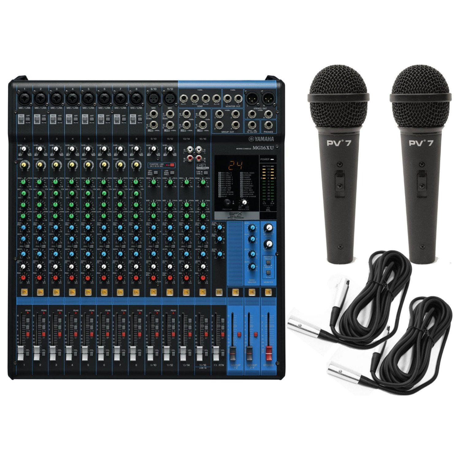 Yamaha Mg16xu 16 Input Analog Mixer With Microphone Mgp12x Preamps Dedicated Stereo Line Channels Aux Sends Eq Digital Effects Audio Usb