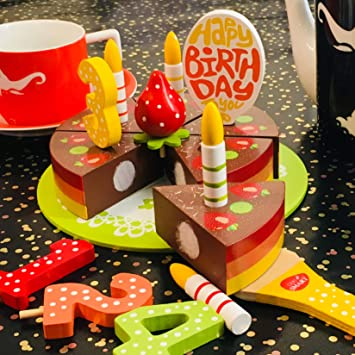 Bee Smart Wooden Toy Play Birthday Cake Set