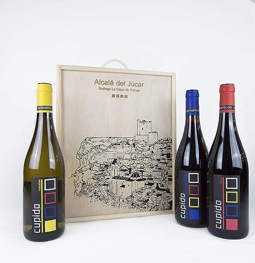 Estuche madera 3 botellas CUPIDO Vino Tinto y Blanco 75cl ...