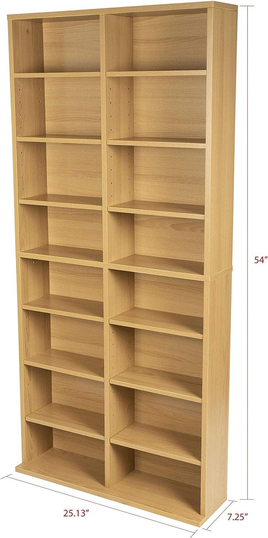 252 DVDs, 540 CDs Atlantic 36x40 Oskar Wall Mounted Adjustable Wood Media Storage Shelf Espresso