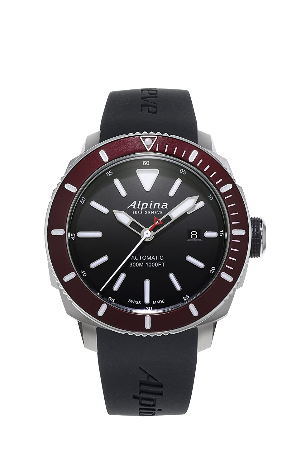 Alpina Men's 'SEASTRONG DIVER 300' Automatic Stainless Steel and Rubber Casual Watch, Color:Black (Model: AL-525LBBRG4V6)