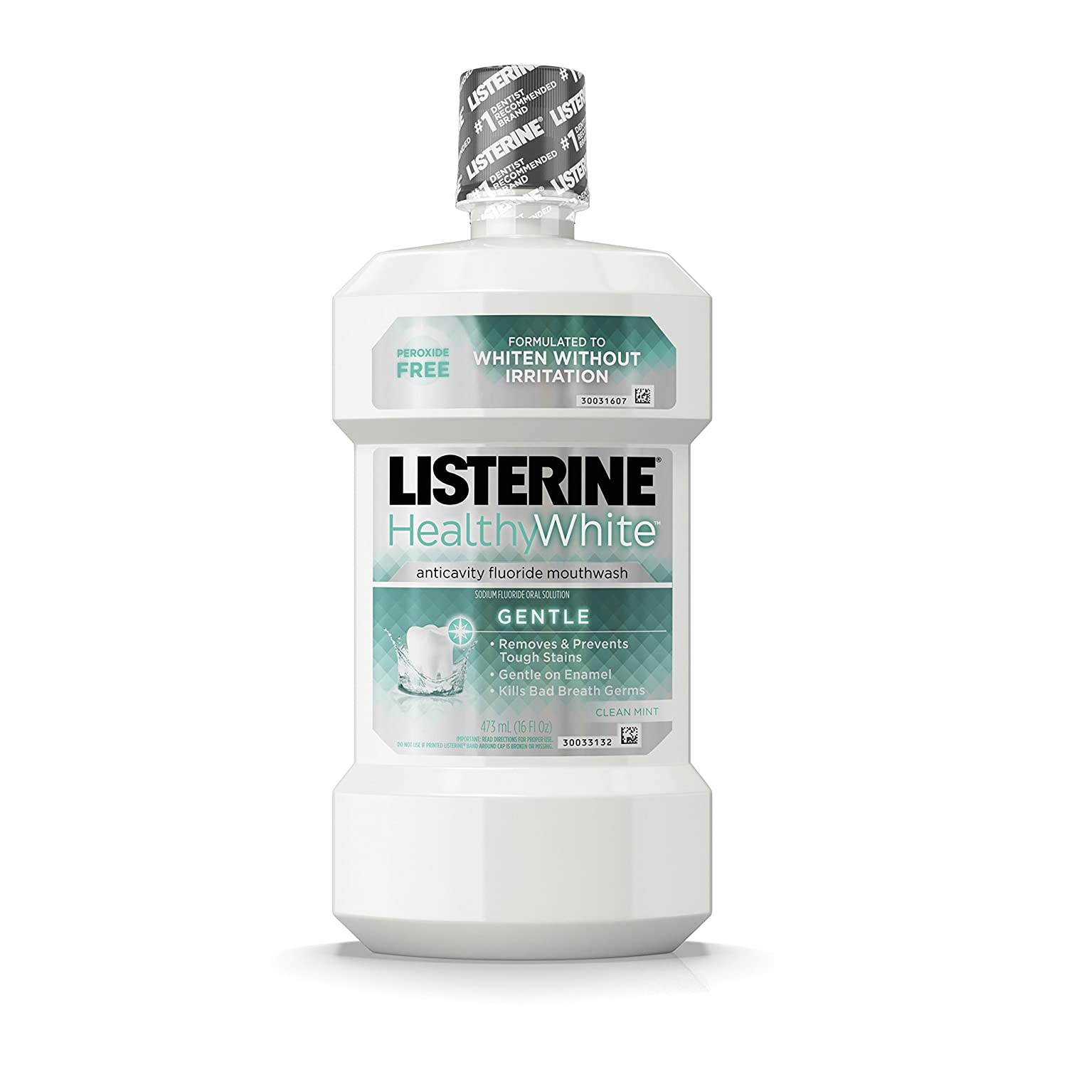 Listerine Healthy White Anticavity Peroxide-Free Fluoride Mouthwash, Gentle Mouth Rinse for Teeth Whitening, Stain Remover and Bad Breath, Clean Mint, 16 fl. oz