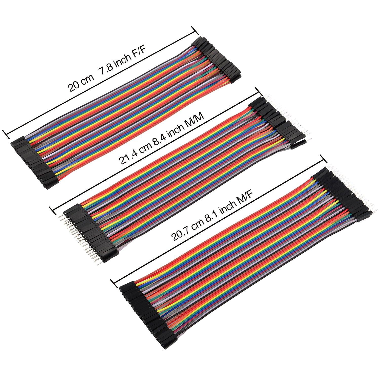 80 Pin F// F 10 cm und 20 cm 80 Pin M// F f/ür Arduino 240 St/ück Steckbrett Jumper Draht Ribbon Kabel Kit Mehrfarbig 80 Pin M// M