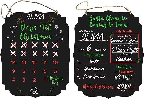 Board 12x 10 Santa's List Merry Christmas Chalkboard For Kids